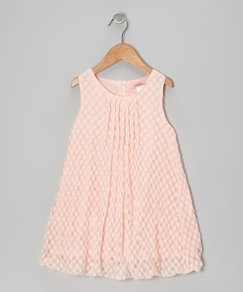 Peach Polka Dot Pleated Mesh Swing Dress - Toddler