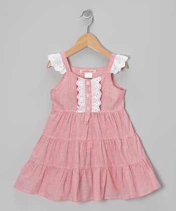 Pink Eyelet Ruffle Tiered Dress - Toddler
