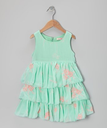 Mint Floral Tiered Dress - Girls