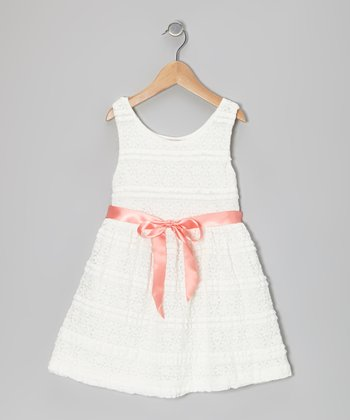 White Floral Stripe Lace Dress - Toddler & Girls