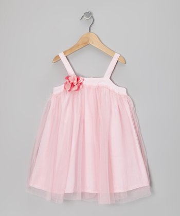 Pink Rosette Tulle Swing Dress - Toddler & Girls