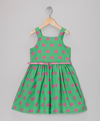 Green & Pink Polka Dot Belted Dress - Toddler