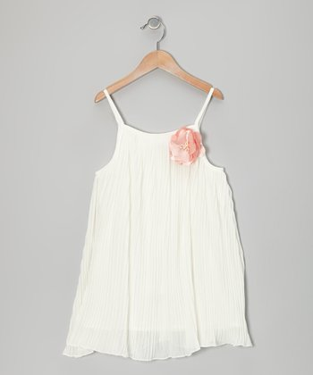 Ivory Rosette Pleated Swing Dress - Toddler & Girls