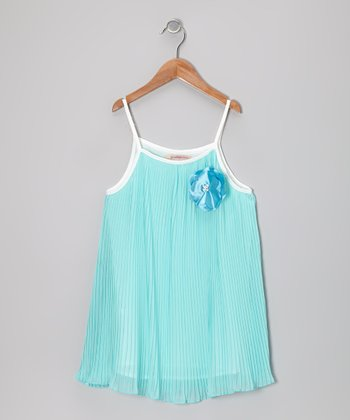 Blue Rosette Pleated Swing Dress - Girls
