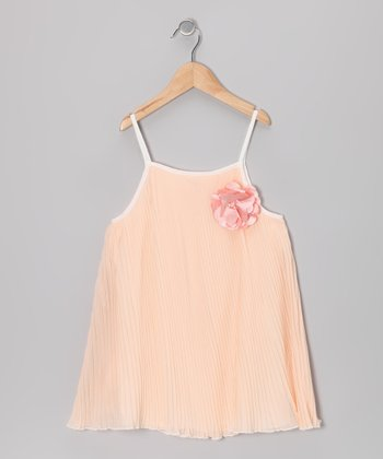 Peach Rosette Pleated Swing Dress - Girls