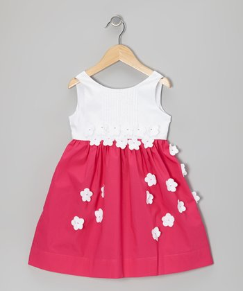 Fuchsia & White Flower Pleated Dress - Toddler & Girls