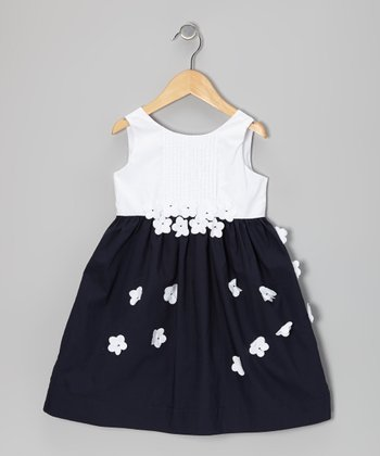 Navy & White Flower Pleated Dress - Girls