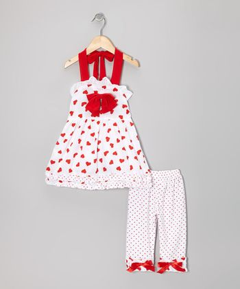 White & Red Heart Halter Tunic & Leggings - Toddler & Girls