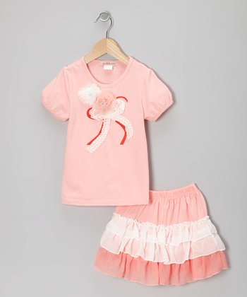 Peach Rosette Tee & Ruffle Skirt - Toddler