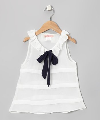 White Stripe Ruffle Bow Tunic - Toddler & Girls