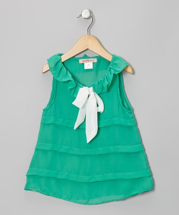Teal Stripe Ruffle Bow Tunic - Toddler & Girls