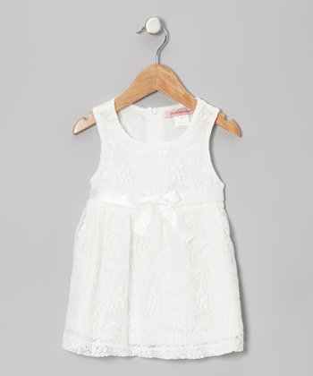 Off-White Floral Lace Bow Dress - Toddler