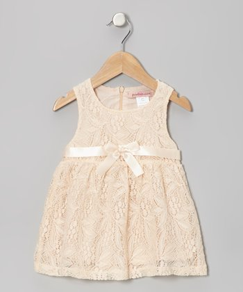 Blush Floral Lace Bow Dress - Toddler