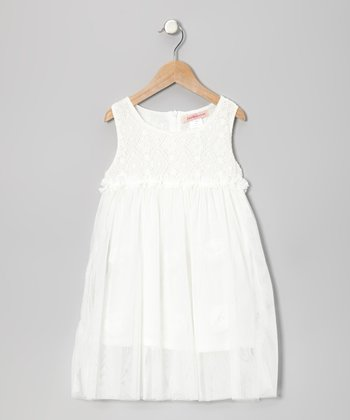 Off-White Floral Lace Tulle Dress - Toddler
