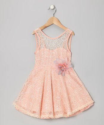 Peach Floral Lace Dress - Toddler & Girls