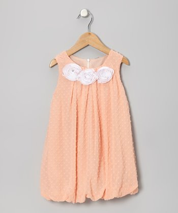 Blush Swiss Dot Rosette Bubble Dress - Toddler & Girls