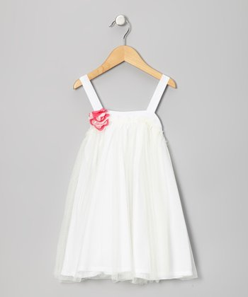 White Rosette Tulle Swing Dress - Toddler & Girls