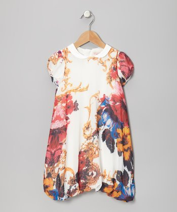 White & Red Floral Bubble Dress - Toddler