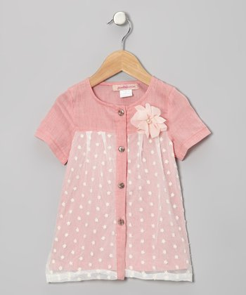 Pink Floral Tulle Button-Up Tunic - Toddler
