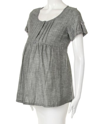 Gray Tab-Sleeve Maternity Top