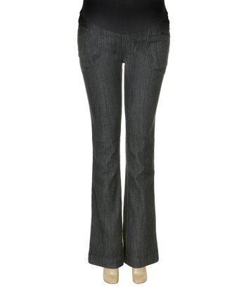 Dark Wash Two-Button Over-Belly Maternity Flare Jeans