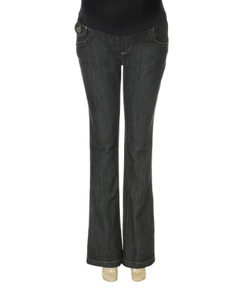 Dark Wash Flap Pocket Over-Belly Maternity Flare Jeans
