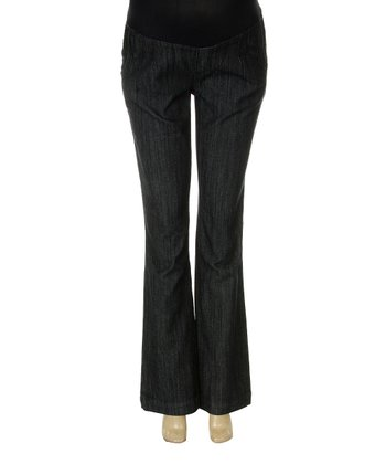 Dark Wash Trouser Pocket Over-Belly Maternity Flare Jeans