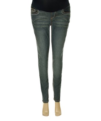 Distressed Wash Maternity Skinny Jeans