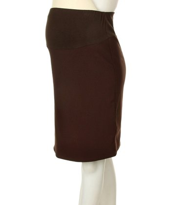 QT Maternity Brown Maternity Pencil Skirt
