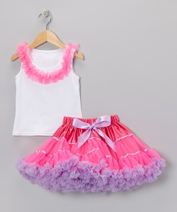 White Ruffle Tank & Pink Pettiskirt - Toddler & Girls