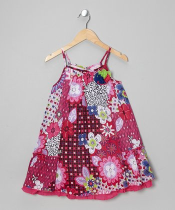 Hot Pink Floral Swing Dress - Toddler & Girls