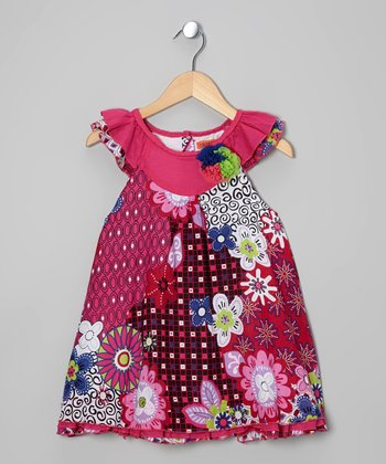 Hot Pink Floral Yoke Dress - Girls