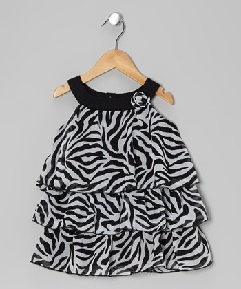 Black & White Zebra Tiered Yoke Tunic - Toddler & Girls