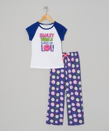 Indigo 'Smiley World Makes Me LOL' Pajama Set - Girls