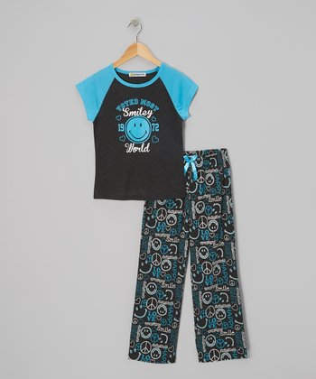 Turquoise 'Voted Most Smiley' Pajama Set - Girls