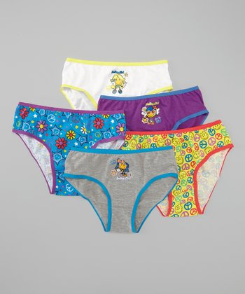 White & Blue Peace Underwear Set  - Girls