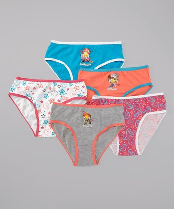 Pink & Blue Smiley Underwear Set - Girls