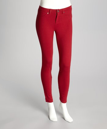 Burgundy French Terry Leggings