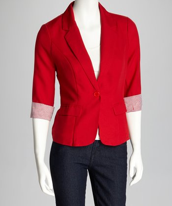 Red Three-Quarter Sleeve Blazer