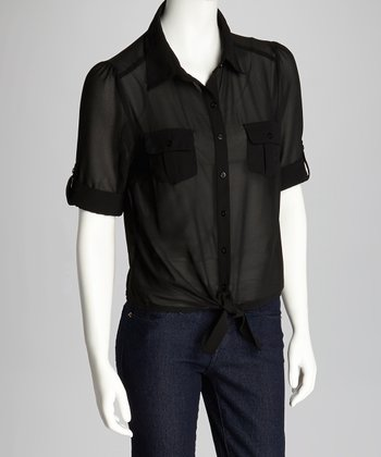 Black Tie Front Button-Up