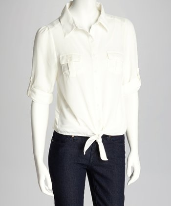 Ivory Tie Front Button-Up