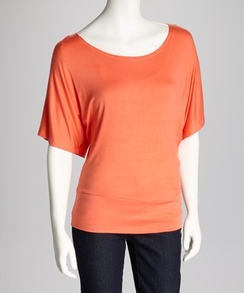 Peach Banded Short-Sleeve Top
