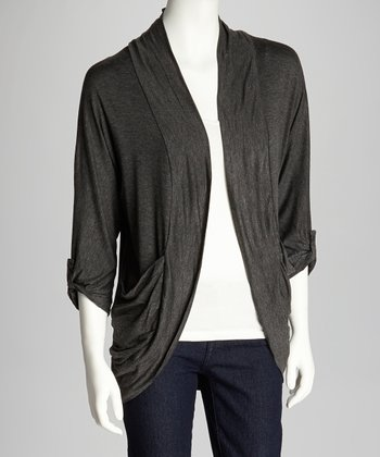 Charcoal Draped Open Cardigan