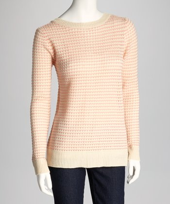 Beige & Coral Long-Sleeve Sweater