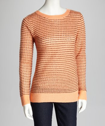 Peach & Dark Rust Long-Sleeve Sweater