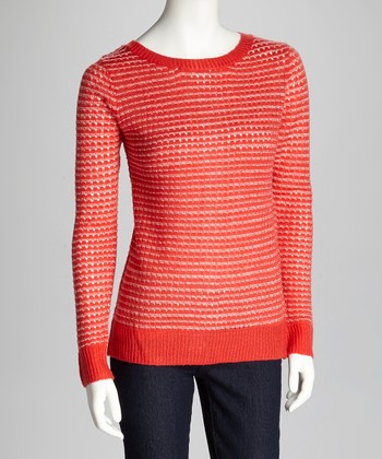 Tomato & Ivory Long-Sleeve Sweater