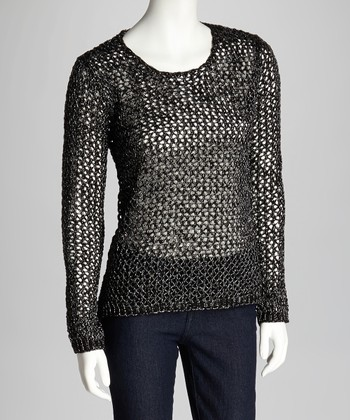 Black & Silver Loose-Knit Sweater