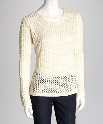 Ivory & Gold Loose Knit Sweater