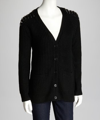 Black Embellished Shoulder Cardigan