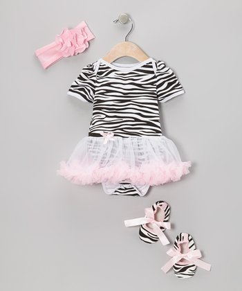 Light Pink Zebra Skirted Bodysuit Set - Infant